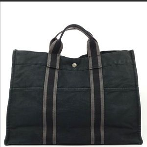 Authentic Hermes Canvas Tote Bag #H4TO56